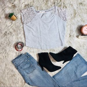 F21 Cropped Gray Sweatshirt w/Lace Shoulders